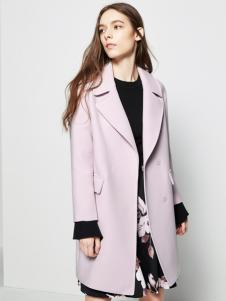 五色五图浅紫色翻领长款外套