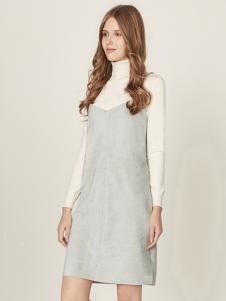 五色五图灰色V领吊带连衣裙