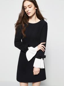 五色五图春季荷叶袖X版连衣裙
