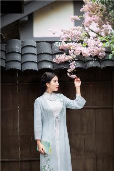 固执obstinate2017春新款复古女装手绘印花薄纱中长披风开衫防晒衣外套