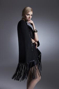 LABEI&LALD2017新品黑色流苏外套