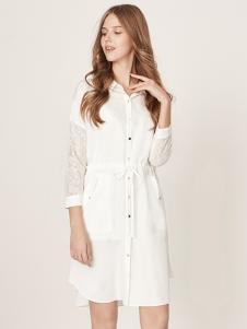 五色五图白色衬衣款连衣裙