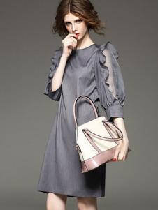 五色五图灰色H版连衣裙