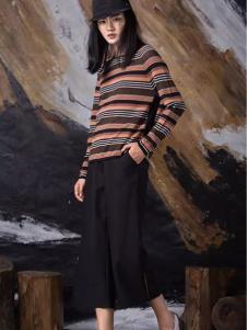 FUKOU弗蔻女装黑色七分阔腿裤