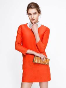 GOOGBS谷邦女装橙色连衣裙