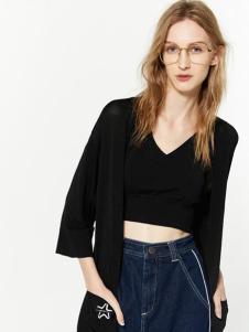 布莎卡黑色时尚外套新款