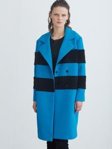 COCO RYLLY女装蓝色拼接廓形大衣