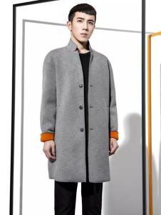 HOZZS汉哲思男装灰色立领大衣