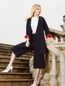 古姿语女装条纹职业套装