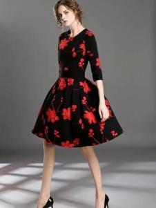HYCLASS海嘉仕女装收腰廓形印花裙