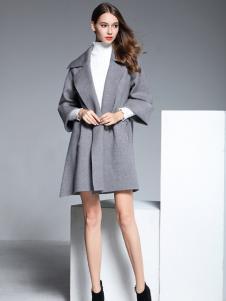 彤欣格灰色九分袖宽松呢大衣