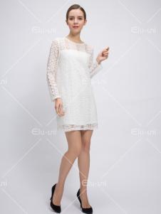 依路佑妮17春新款白色蕾丝裙