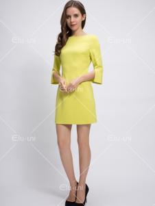 依路佑妮17春新款黄色连衣裙