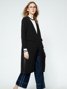 布莎卡春季黑色时尚长款外套