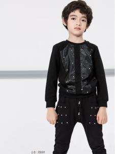 土巴兔男童黑色运动套装