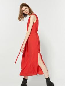 布莎卡时尚红色背心长裙