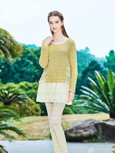 女子卉色时尚黄色上衣