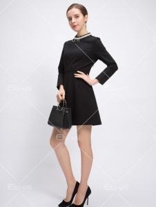 依路佑妮17春新款黑色连衣裙
