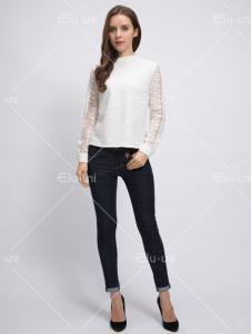 依路佑妮17春季新款贝斯蕾丝衫
