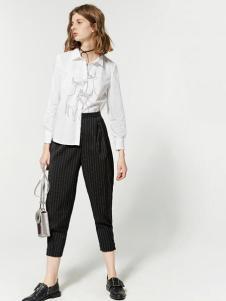 布莎卡白色时尚长款衬衫