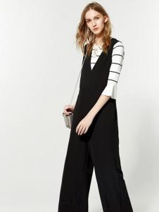 布莎卡黑色简约时尚背带裤