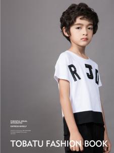 土巴兔白色字母短袖T恤