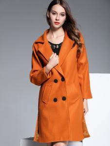 彤欣格亮橙色长款呢大衣