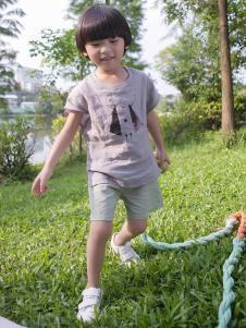 谷子屋童装男童棉麻T恤