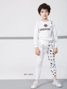 土巴兔白色字母运动T恤套装