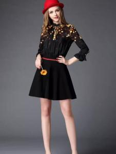 HYCLASS海嘉仕女装黑色收腰蕾丝裙