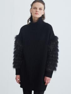 COCO RYLLY女装黑色高领长款针织