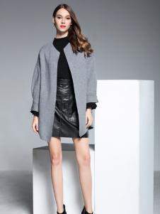 彤欣格灰色圆领中款外套