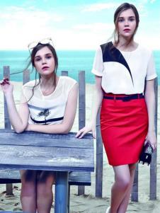 古姿语女装红色包臀裙