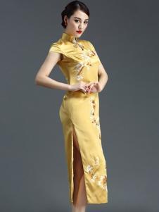 恒舞女装金色立领高开衩旗袍