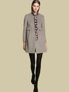 HENGZE恒泽女装灰色圆领大衣