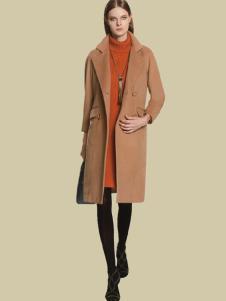 HENGZE恒泽女装米黄色长款大衣