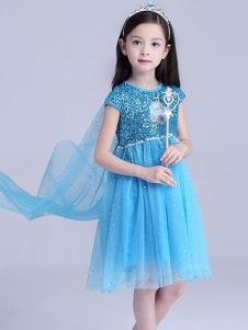 红熊谷童装蓝色公主裙