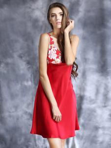 恒舞红色背心式性感睡裙