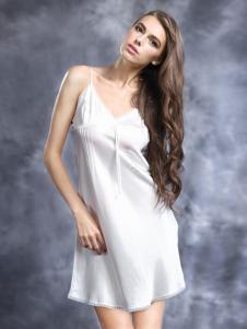 恒舞白色吊带丝滑睡裙