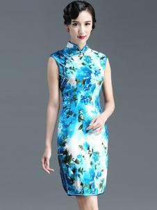 恒舞女装蓝色印花旗袍