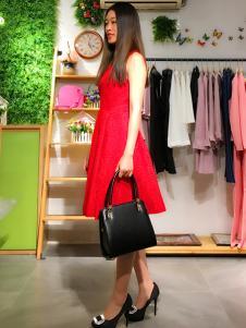 淑女日记红色夏装连衣裙