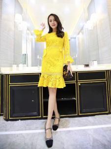 CH-21黄色蕾丝连衣裙
