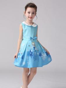 红熊谷童装蓝色无袖女裙