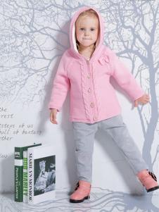 虹猫蓝兔童装粉色连帽针织外衫