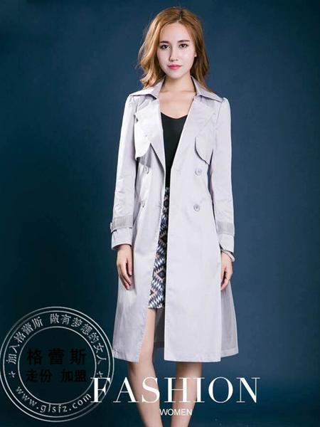 格蕾斯女装春季灰色修身风衣