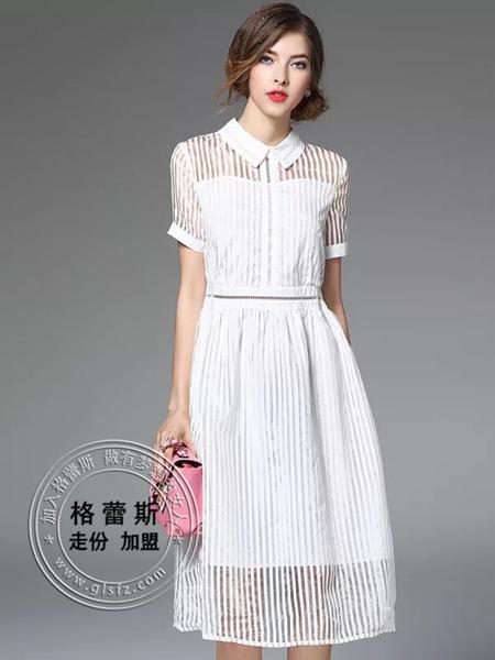 格蕾斯春夏白色衬衣领连衣裙