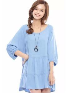 花木马女装蓝色宽松连衣裙