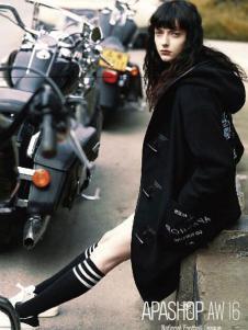 Apashop火星商店休闲装黑色长款外套