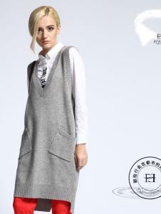 华人杰女装灰色长款V领针织衫背心