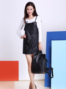 卡茵琪黑色皮裙